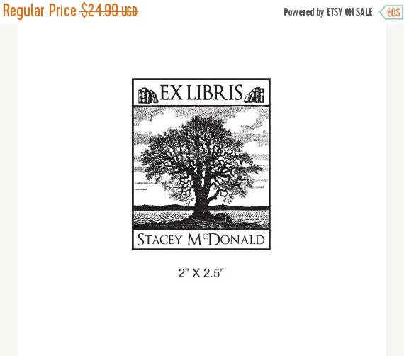Gift for Grads 15% Off Old Oak Tree Personalized Ex Libris Library Rubber Stamp I33