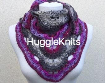 Purple and greys Shawlette ... Wrap