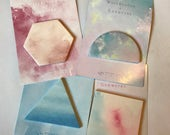 Geometric shape sticky notes, watercolor marble pattern post its, triangle shaped notepad, hexagon notes