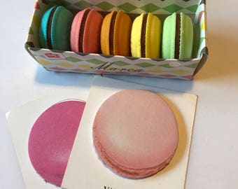 Macaroon Eraser Set, Set of 5 Macaroon Erasers and Macaroon Sticky Note, Cookie Erasers, Kawaii Office Supply, Colorful Erasers 5 Piece Set