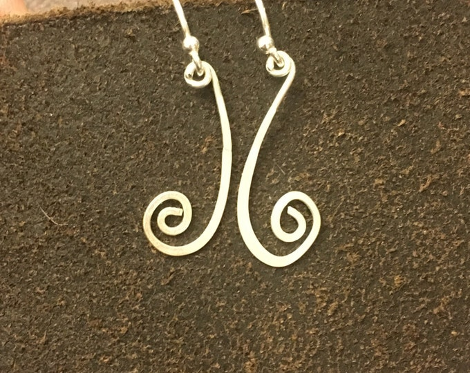 Hammered swirl earrings in sterling silver