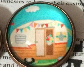 Calling ALL Glampers Cutest Darn Glass Dome Button Retro Camper Love