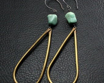 Mystery Earrings in Brass, Sterling Silver and Green Stone
