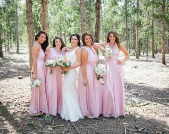 Upscale Bridesmaids Infinity Custom Sizes/Lengths Multiway Convertible Dress -Blush Dusty Blue Rose Wine Rosegold Taupe Lace Chiffon Marsala