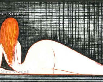 Original Art Female Woman artistic Reclining Nude Redhead bold unique artwork