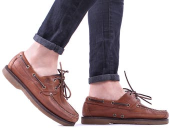 Men's Boat Shoes 80s Top Sider Loafers Shoes Bourbon Brown Leather Lace Up Classic Timberland Casual Footwear US mens 8, UK 7.5, Eur 41.5