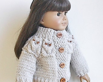 18 Inch Doll Clothes Knit Cardigan Sweater with Owls around Yoke in Natural Acrylic Handmade to fit the American Girl Doll - Ready to Ship