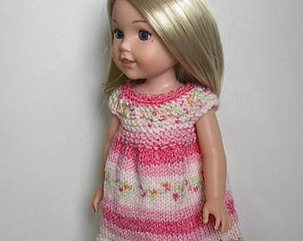 """14.5"""" Doll Clothes Knit Dress Handmade to fit Wellie Wishers dolls - Rose and Pink Jacquard Summer Dress"""