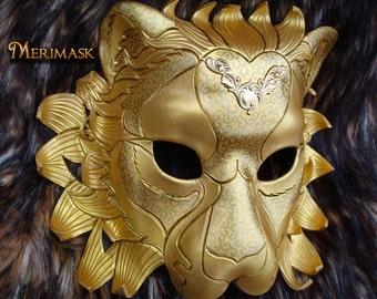 MADE TO ORDER Regal Golden Lion Leather Mask... masquerade cat costume  Venetian mardi gras halloween burning man
