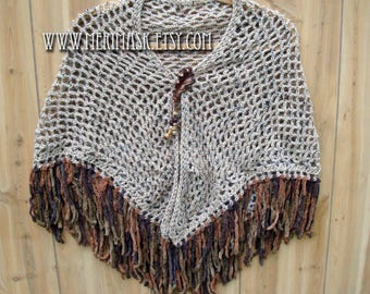 Brown Oak Crochet Shawl... knit crocheted fringed yarn leather leaf tie bohemian boho