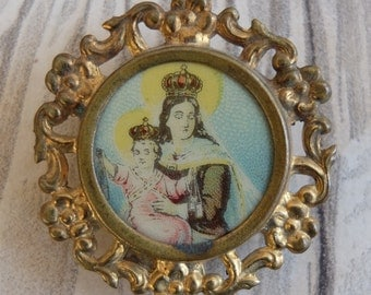 Vintage Our Lady of Mt Carmel Celluloid Religious Reuse Badge