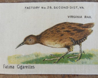 Vintage Fatima Tobacco Silk Bird Virginia Rail