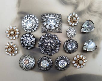 Vintage Buttons Rhinestones Assortment Lot Metal Findings