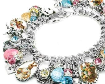 Easter Charm Bracelet, Easter Jewelry, Bunny Jewelry, Easter Bracelet, Easter Charms Jellybeans Egg Hunt