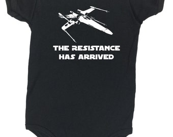 The Resistance Has Arrived - Kids Onesie - 3 sizes available. Screen printed. Handmade Cool Funny punk cool funny clever Bernie NO Trump
