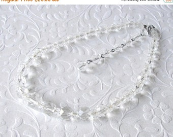 20% SALE Classic Vintage 1950's Crystal Necklace Wedding Bridal Jewelry Ballroom Pageant Costume Accessory Formal Evening Prom Clear Crystal