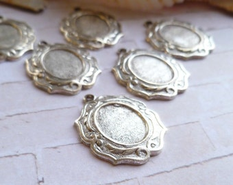 Silver Plate Oxidated Settings for 10x8mm Cabochons (28-15B-6)