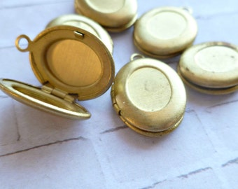 Vintage Oval Raw Brass Lockets with Loop (12-2B-6)