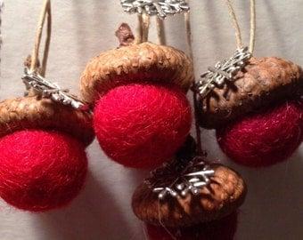 Christmas Ornament - Acorn Ornament - Snowflake Topped Ornament - Tree Ornament - Woodland Ornament