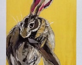 Coy Bunny on Sunny Yellow Limited Edition Print from Original Painting Collage