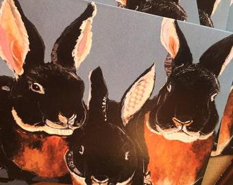 Black Velvet Bunnies Single Notecard from Original Painting Collage