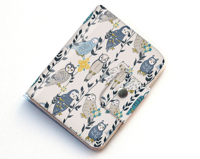 Handmade Vinyl Passport Case - Owls in Flowers / traveller, passport, adventure, gift, vinyl, woman's, wallet, owl, bird, woodland, floral,
