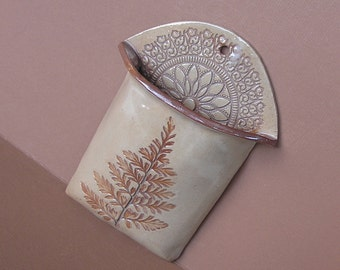 ceramic fern wall pocket vase . handmade pottery . ferns