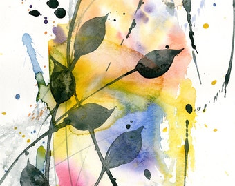 """Abstract leaf Watercolor Painting, Minimalist floral art, plant, nature, blooms, """"Organic Abstract 113"""" by Kathy Morton Stanion EBSQ"""