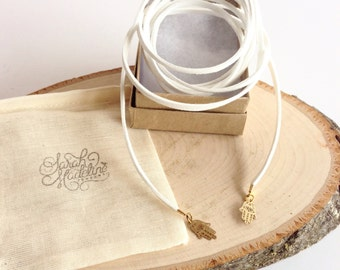 White Vegan Suede Wrap Choker with Hasma Hands