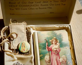 Beautiful Rare Vintage 1925 First Communion Box with Celluloid Prayer Book -Rosary- Scapular-Cards- Virgin  Pin- Catholic Essentials -Lovely