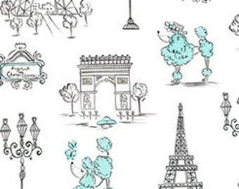 Quilting Treasures, C'EST LA VIE, Poodles & Paris on Black, yard