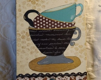 Teacup collage, mixed media, canvas art, original, vintage materials, one of a kind, painting
