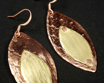 Mixed Metal Jewelry Copper and Brass Earrings OOAK hand forged riveted earrings E-189