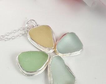Sea Glass Necklace Sea Glass Jewelry Pastel Sea Glass Flower Pendant Sea Glass Necklace Sea Glass Pendant N-468