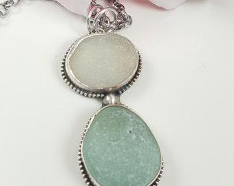 Sea Glass Necklace Sea Glass Jewelry Sea Glass Pendant Aqua Sea Glass Necklace Sea Glass Jewelry - N-470