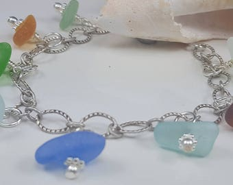 Sea Glass Bracelet Sea Glass Jewelry Sterling Silver Bracelet Aqua Cobalt Blue Sea Glass Bracelet Beach Glass Bracelet B-253