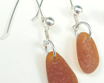 Sea Glass Earrings Sea Glass Jewelry Amber Brown Sea Glass Earrings Lake Erie Beach Glass Earrings E-220