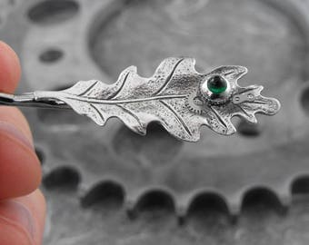 Steampunk Oak Leaf Bobby Pin or Tie Clip - Bursting Leaf of Time by COGnitive Creations