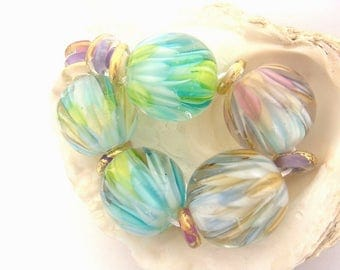 5 Big Lotus Flower Beads & 10 Spacers Handmade Lampwork