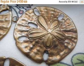 ON SALE 18% off Large Sand Dollar Brass Ox Stampings Charms Pendants 34mm 4 Pcs