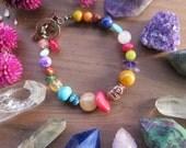 Rainbow Stone Buddha Bracelet - Colorful Womens Yoga Gem Jewelry - Copper Toggle - Bohemian Crystal Gemstone Fashion - Boho Yogi
