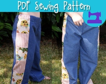 PDF SEWING PATTERN - Almost One Size Truly Scrumptious Pant Pattern - trousers, pants pattern, pull on pants, boho pants, hippie pants
