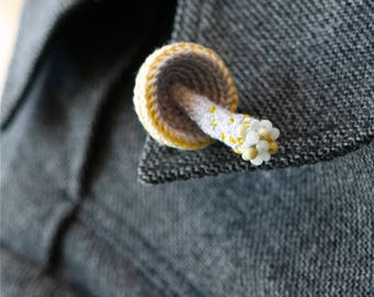 Mushroom crochet pin - whimsical brooch - woodland jewelry