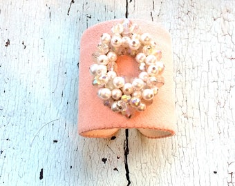 Pale Peach Beaded Adjustable Cuff