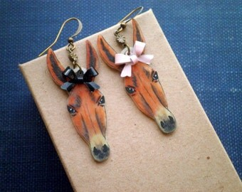 Horse Head Dangle Earrings - Wild Horse Cowgirl Equestrian Earrings - Retro Chic Mismatched Enamel Bow Horse Dangles - Animal Jewelry Gift