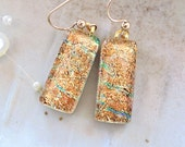 Gold Earrings, Aqua, Dichroic Earrings, Glass Jewelry, Dangle, Gold Filled, Gold, A3