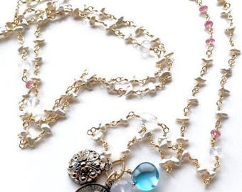 Vintage Love Token Necklace - Mixed Metal Akoya Keshi Pearls and Gemstones - Opera Length Long Layering
