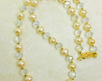 Pearls and Crystals Necklace Cultured Freshwater Pearls 20in Necklace
