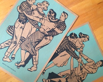 2 Square Dance Posters hand printed letterpress turquoise and navy blue linocuts printed on kraft cardstock couples social dancing prints