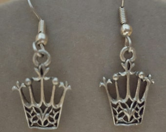 Crown Earrings Pewter